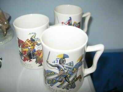3 Ceramic Mugs -Withersea  Eastgate Pottery Showing Knights. Unboxed But GC  • 5.99£