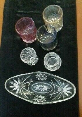 6 Peices Of Vintage Cut Glass.  Includes Tumblers  • 5£