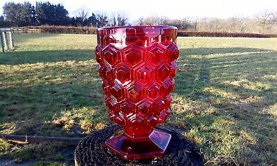 Cranberry Red Pressed Glass Tumbler  Honeycomb Pattern • 7.35£