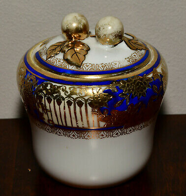 Noritake Navy Blue And Gold Preserve Sugar Pot With Lid • 6.99£