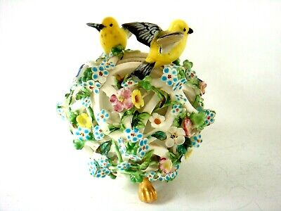 Meissen / Dresden Footed Floral Encrusted Pot Pourri With Canary Birds C1800's  • 10.99£
