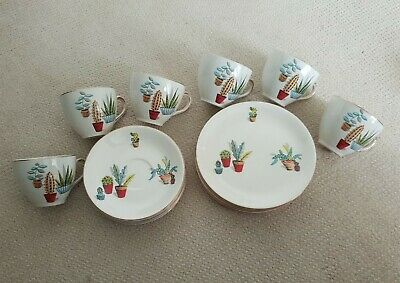 18pc Vintage Alfred Meakin Cactus Cups Saucers Plates. Great Condition 1950s  • 150£