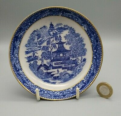 Antique English Porcelain New Hall Staffordshire Blue & White Printed Saucer  • 14£