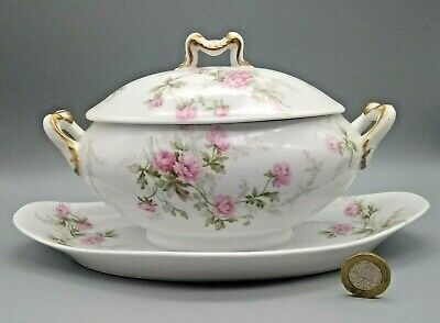 Antique French Limoges Porcelain Sauce Tureen On Stand Rose Decorated C1900 • 23£