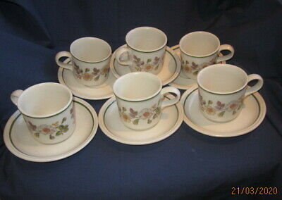 Autumn Leaves Marks And Spencer M&s 6 X Tea Cups And Saucers Very Good Cond • 3.99£