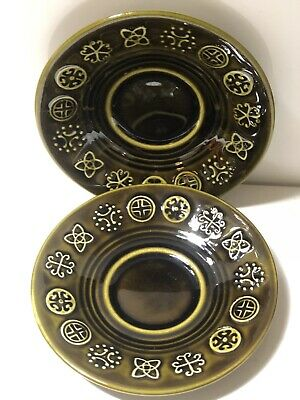 Set Of 2 Green Celtic Vintage Lord Nelson Pottery Saucers . • 1.99£