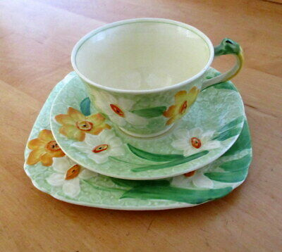 Vintage Art Deco Grindley Cup/saucer/plate Trio Raised Spring Narcissi Pattern • 17.50£