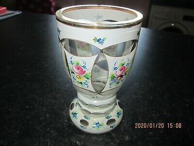 Antique  Bohemian Hand Painted And Gilded Mlk Glass Overlay Vase Goblet • 9.99£