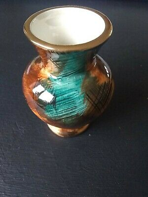 Vintage Oldcourt Ware Miniature 8cms High Ceramic Vase. Green/brown. Perfect!! • 4.99£