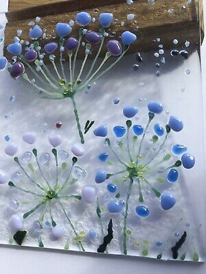 Handmade Bright Cheerful Allium Flower Meadow Fused Glass 3D Picture & Oak Stand • 13.99£