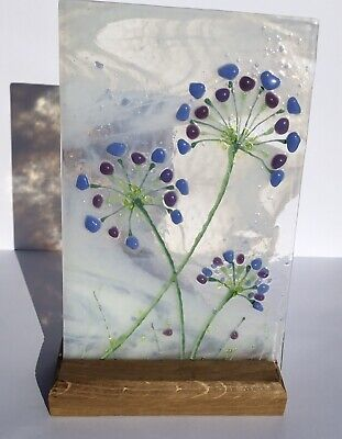 Bright Cheerful Allium Flower Meadow Fused Glass Picture & Oak Stand • 16.49£