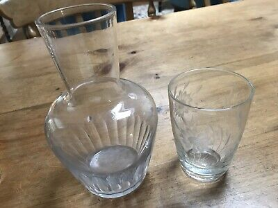 Vintage Bedside Glass Carafe With Glass (not Matching). Daisy Design.  • 2£