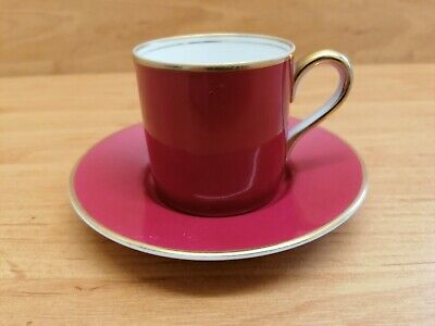 Noritake Espresso Coffee Cup And Saucer. Ruby Red With Gold Rim. • 4.99£