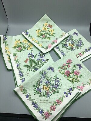 Royal Worcester 6 X Cloth Napkins Floral Herbs Butterfly's • 19.99£