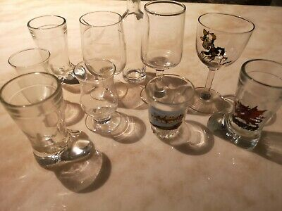 9X Assorted Victorian Sherry/Port/Shot Glasses With Plain Bowls • 4.99£