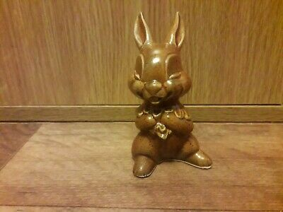 Porcelain Brown Glaze Laughing Bunny, Unmarked. • 5£