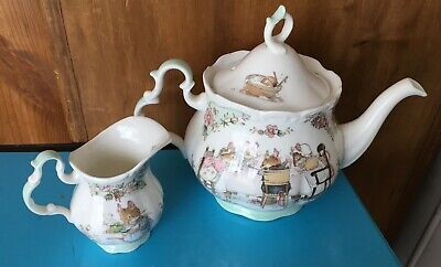 Royal Doulton Brambly Hedge Teapot - Jill Barklem 1985 Full Size + Milk Jug. • 115£
