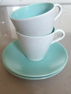Poole Twintone Pottery Ice Green & Seagull C57 2 Tea Cups And Saucers Streamline • 12£