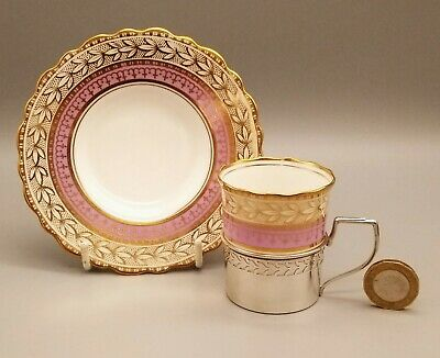 Antique English Porcelain Aynsley Pink Coffee Cup In Silver Holder & Saucer 1924 • 75£