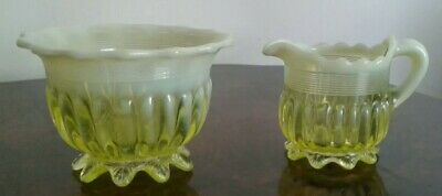 Antique Uranium Vaseline Glass Green Yellow  Small Milk Jug And Sugar Bowl  • 24£
