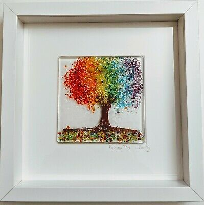 Handmade Fused Glass Rainbow Tree Framed Picture • 34£