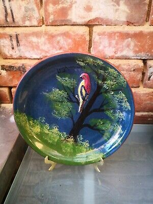 Lovely Vintage Torquay Pottery Hele Cross Parrot Plate  Leigh On Sea  22cms • 22.99£