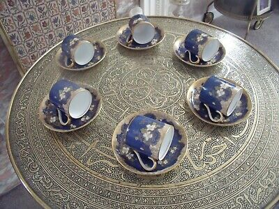 Vintage-crown Staffordshire  Demitasse Coffee Cups And Saucers Blue And Gold... • 49£