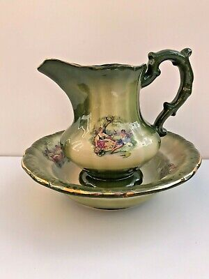 Vintage Wash Bowl KH Staffordshire Pottery Pitcher And Bowl Green & Cream  • 31.99£
