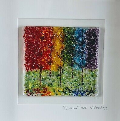 Handmade Fused Glass Rainbow Trees Framed Picture • 34£