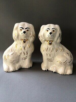 Small Pair Beswick Pottery Staffordshire Style Dogs King Charles Spaniel White • 24.99£