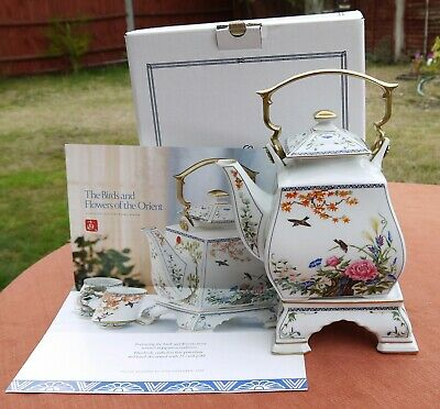 Franklin Porcelain  Birds & Flowers Of The Orient Teapot & Stand  • 30.50£