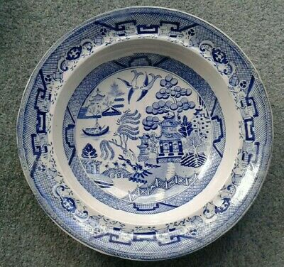 Antique Early Victorian Large  Soup Serving Bowl Plate Willow Pattern  • 16£