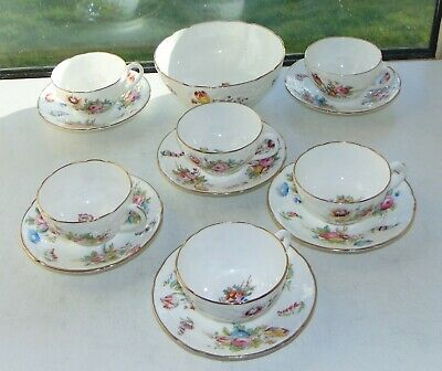 Coalport Embossed Sevres Floral 13 PC 6 X Cups Saucers Sugar Bowl Hand Painted  • 45£
