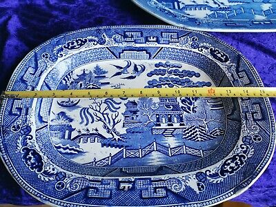 Large Antique Willow Pattern Platters • 30£