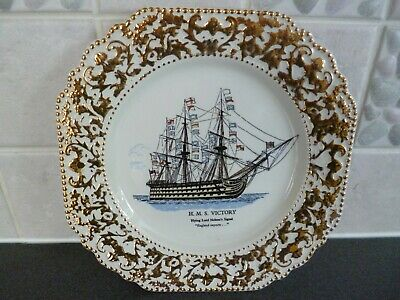 Lord Nelson Pottery - HMS Victory Plate 8.25  - Gold Surrounding - VGC • 4.99£