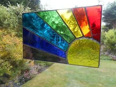 Stained Glass Sun Rainbow Spectrum Suncatcher Or Wall Picture (Landscape) • 35£