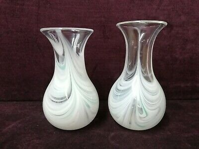 Two Adrian Sankey Handmade Small Glass Vases Cumbria Excellent Condition • 15£