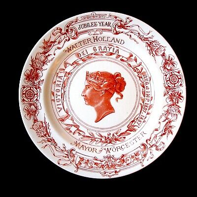 1887 Red Queen Victoria's Royal Worcester Jubilee Plate, Walter Holland Mayor • 35£