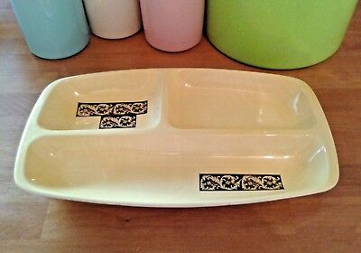 Large Vintage Retro Carlton Ware Yellow Divided Serving Dish • 12.99£