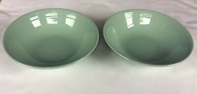 Woods Ware Beryl Cereal Bowls Dishes Green 1940s Pair • 16£