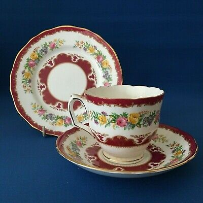 Crown Staffordshire Bone China Tunis Cup, Saucer & Side Plate Pink Floral • 12.95£