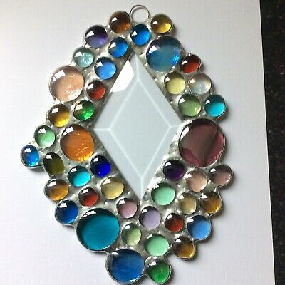Stained Glass Nugget Abstract Diamond Suncatcher Window Decoration • 34£