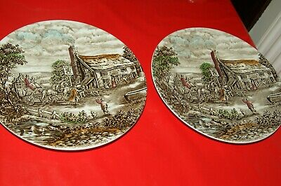 2 X 10  Plates- Wood&sons-the Post House-english Ironstone • 4.99£