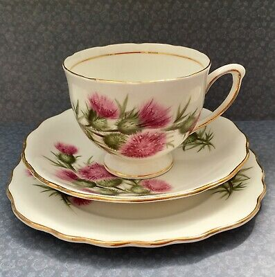 COLCLOUGH 1950s PINK THISTLE TEA TRIO SET CUP SAUCER & PLATE - GILDED BONE CHINA • 15£