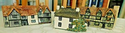 Tey Pottery Norfolk Britain In Miniature Cottage/House Collection X 3  • 30£