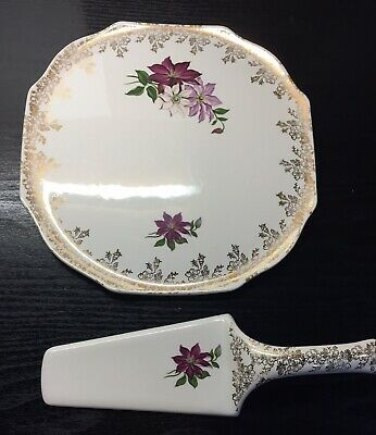 Lord Nelson Pottery Vintage Floral Cake Plate & Cake Slice • 4£