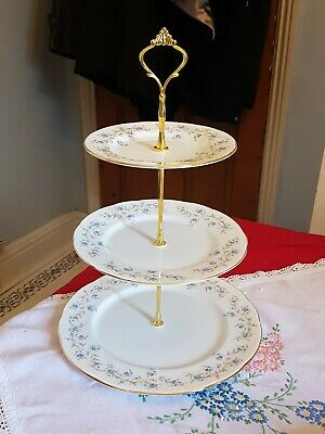 Vintage Duchess Tranquillity Bone China 3 Tier Cake Stand Forget Me Nots PARTY • 19.99£