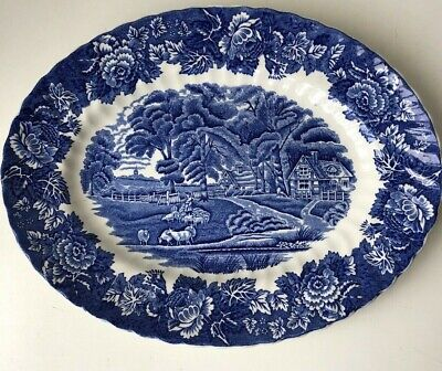 Vintage Enoch Woods Ware English Scenery Blue & White Oval Plate Platter • 15£