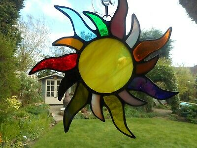 Stained Glass Flaming Sun Suncatcher Or Wall Mount.  • 22£