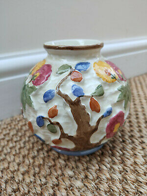 Vintage Indian Tree Vase By H J Wood. Handpainted Round Staffordshire Pot  Vase • 5.90£